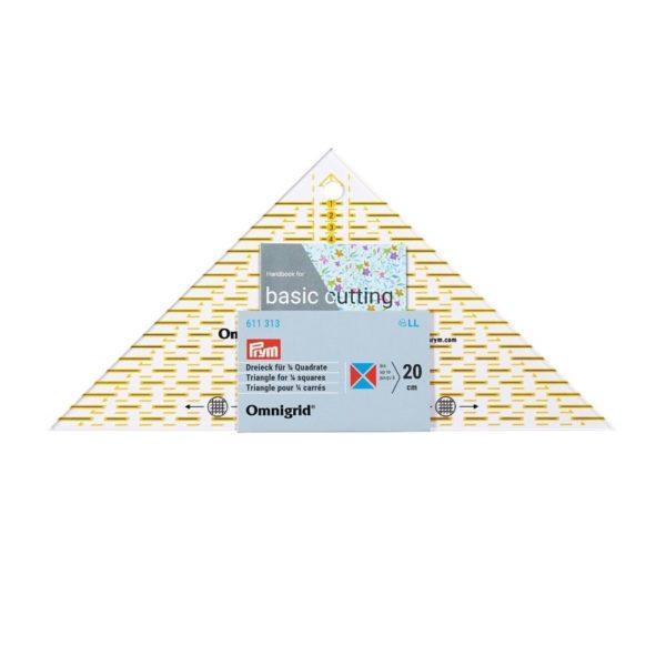 Regolo triangolo svelto per tagliare ¼ di quadrato fino a 20cm confezione - Omnigrid Prym