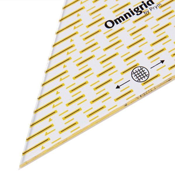 Regolo triangolo svelto per tagliare ¼ di quadrato fino a 20cm dettaglio - Omnigrid Prym