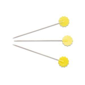 Spilli con testa a fiore giallo - confezione 50 pz