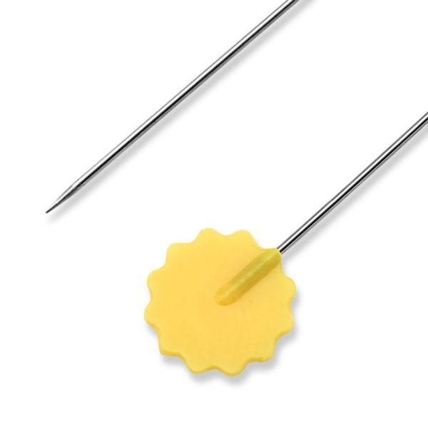 Spilli con testa a fiore giallo -dettaglio - confezione 50 pz