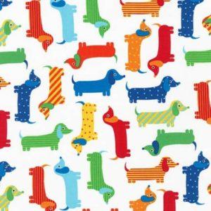 Tessuto in cotone americano - fantasia animali cani bassotto - Filomania