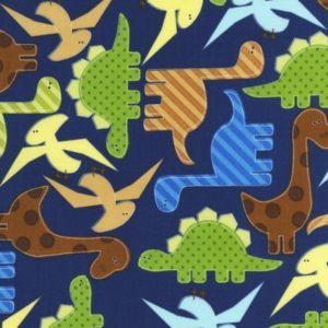 Tessuto in cotone americano - fantasia animali dinosauri blue- Filomania