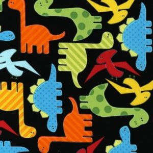 Tessuto in cotone americano - fantasia animali dinosauri nero - Filomania