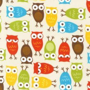 Tessuto in cotone americano - fantasia animali gufo multicolor - Filomania
