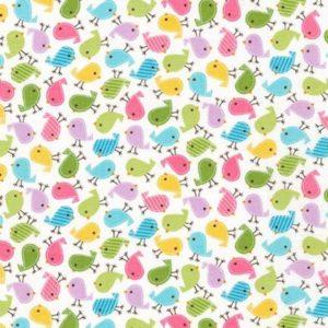 Tessuto in cotone americano - fantasia animali uccelli multicolor - Filomania