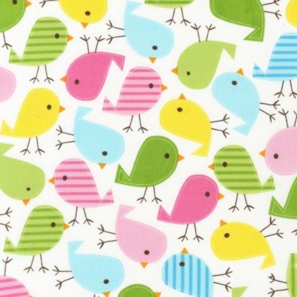 Tessuto in cotone americano - fantasia animali uccellini colorati - Filomania