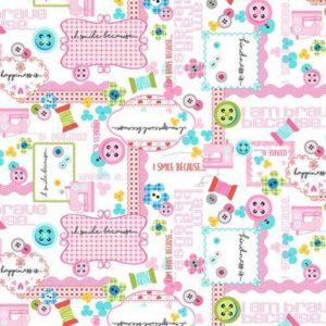 Tessuto in cotone americano - fantasia cucito creativo rosa