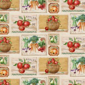 Tessuto in cotone americano - country - autunno - frutta - verdura - Filomania