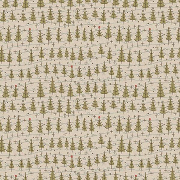 Tessuto in cotone americano - fantasia - alberi - abeti - grigio - Anni - Downs - Filomania