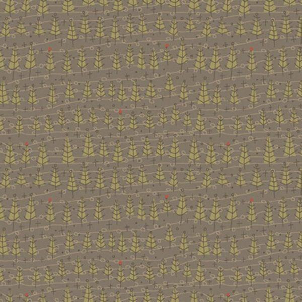 Tessuto in cotone americano - fantasia - alberi - abeti - marrone - Anni - Downs - Filomania