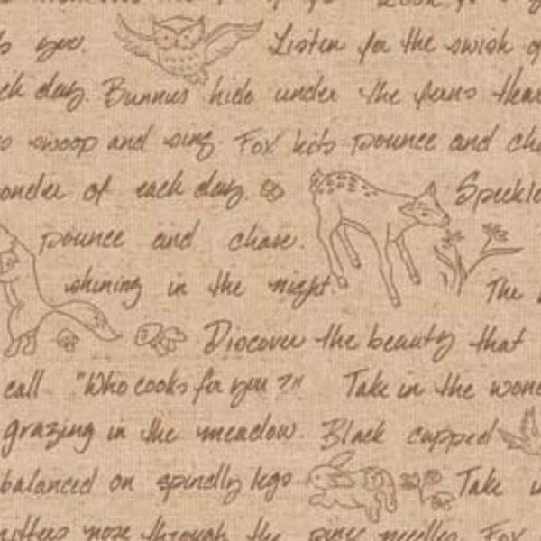 Tessuto in cotone americano - fantasia - animali - bosco - lettere - Filomania