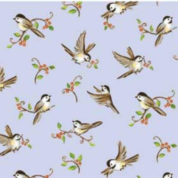 Tessuto in cotone americano - fantasia - animali - uccelli - azzurro - Filomania