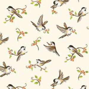 Tessuto in cotone americano - fantasia - animali - uccelli - beige - Filomania