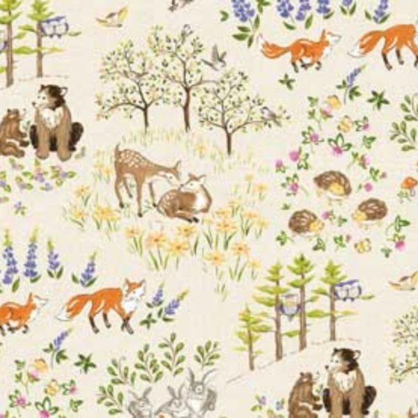 Tessuto in cotone americano - fantasia - autunno - animali - bosco - Filomania