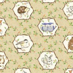 Tessuto in cotone americano - fantasia - autunno - animali - riccio - gufi - Filomania