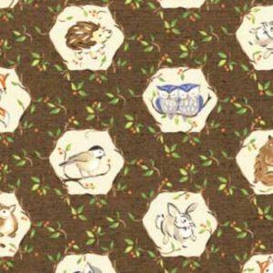 Tessuto in cotone americano - fantasia - autunno - animali - riccio - gufi - marrone - Filomania