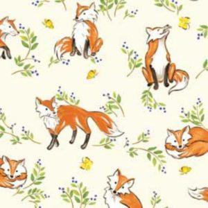 Tessuto in cotone americano - fantasia - autunno - animali - volpi - Filomania
