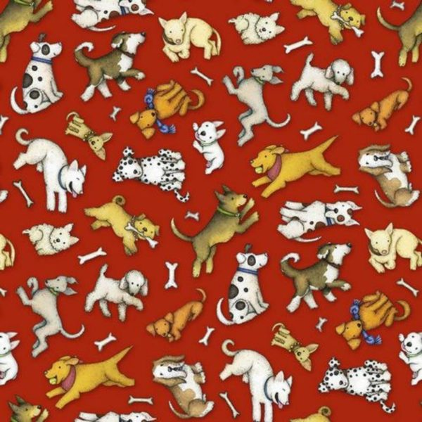 Tessuto in cotone americano - fantasia - cane - animali - all over - Filomania