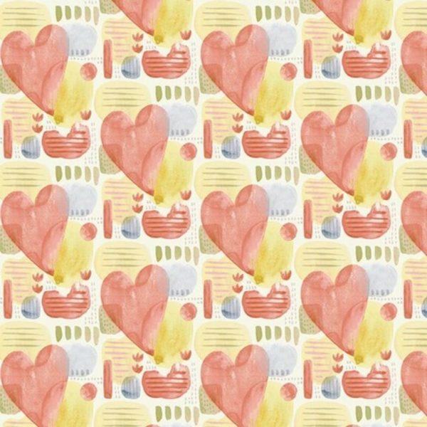 Tessuto in cotone americano - fantasia - cuori - primavera - Filomania
