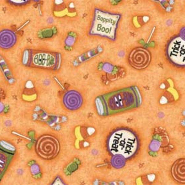 Tessuto in cotone americano - fantasia - dolcetto - scherzetto - arancione - halloween - Filomania