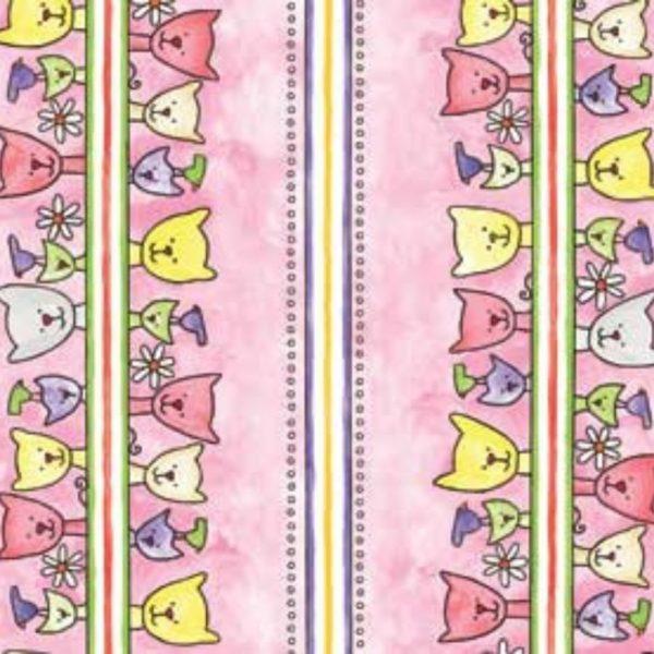 Tessuto in cotone americano - fantasia - fiori - gatti - colorati - Filomania