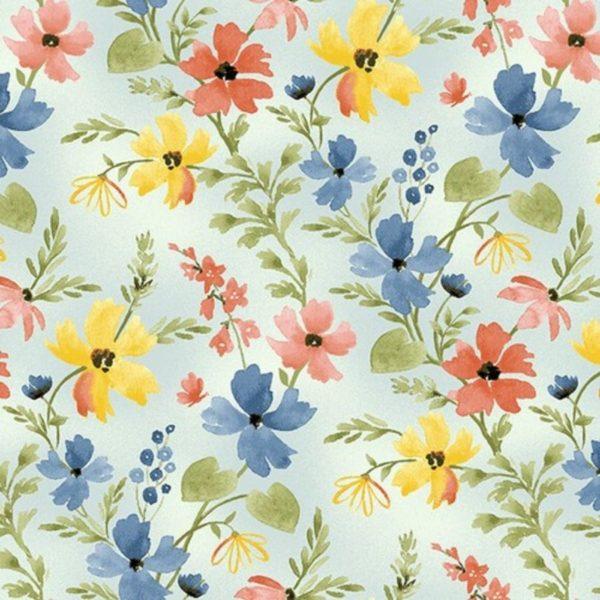 Tessuto in cotone americano - fantasia - fiori - primavera - colorati - Filomania
