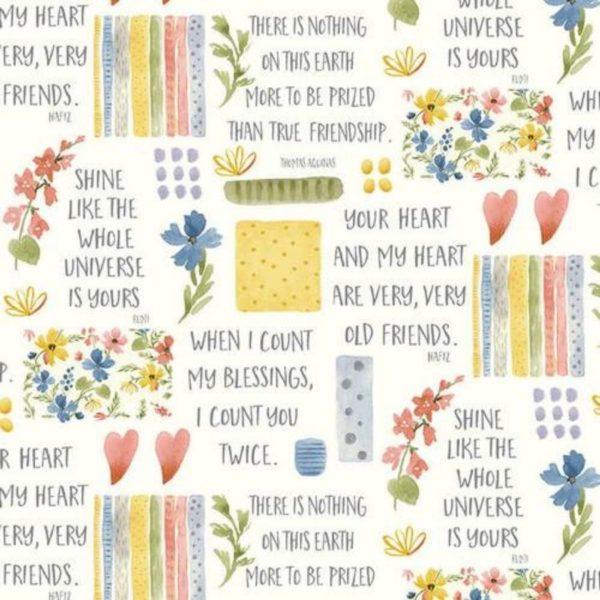 Tessuto in cotone americano - fantasia - fiori - scritte - primavera - Filomania