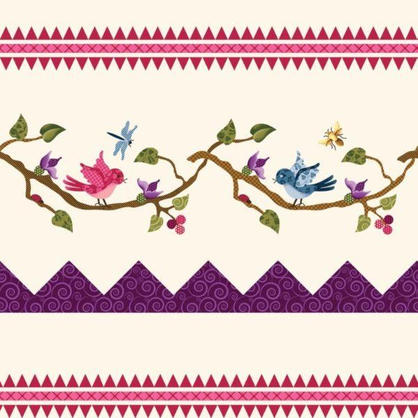 Tessuto in cotone americano - fantasia - fiori - uccelli - primavera - Filomania