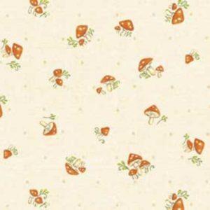 Tessuto in cotone americano - fantasia - funghi - autunno - bosco - beige - Filomania