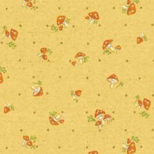Tessuto in cotone americano - fantasia - funghi - autunno - bosco - ocra - Filomania