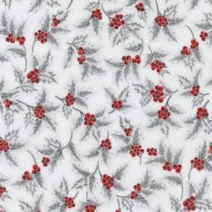 Tessuto in cotone americano - fantasia - natale - aghifoglio - argento - Filomania