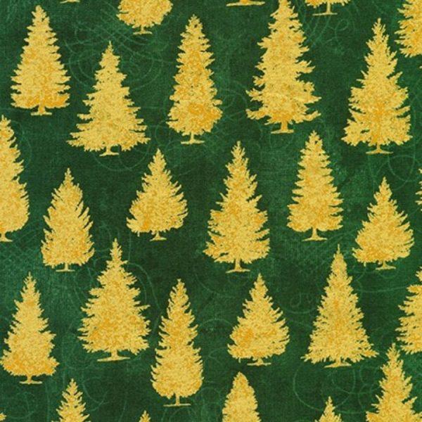 Tessuto in cotone americano - fantasia - natale - alberi - abeti - oro - Filomania