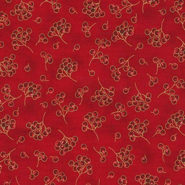 Tessuto in cotone americano - fantasia - natale - bacche - rosso - Filomania