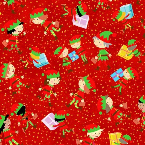 Tessuto in cotone americano - fantasia - natale - elfi - rossi - Filomania