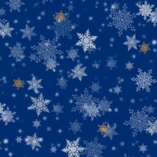 Tessuto in cotone americano - fantasia - natale - fiocco - di - neve - blu - Filomania