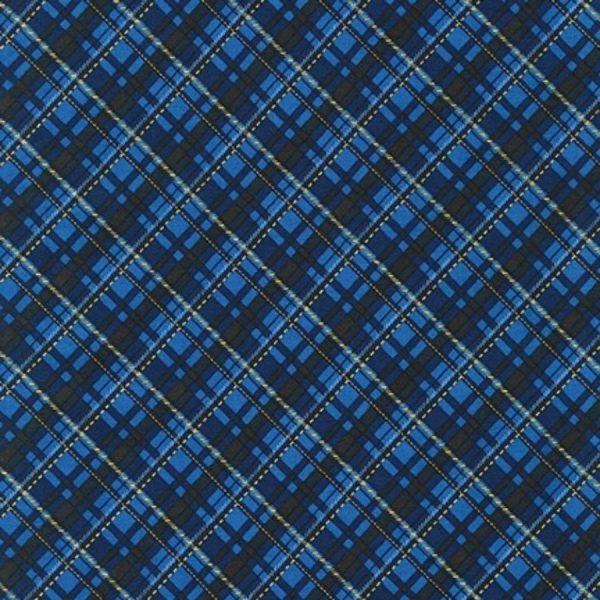 Tessuto in cotone americano - fantasia - natale - scozzese - blu - Filomania