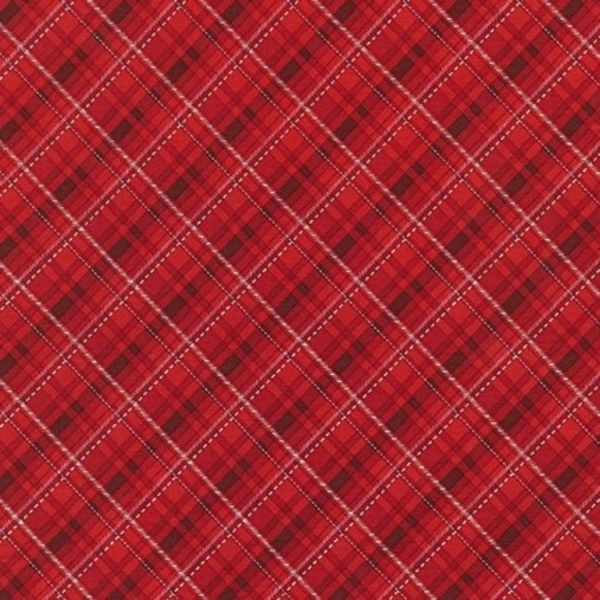 Tessuto in cotone americano - fantasia - natale - scozzese - bordeaux - Filomania