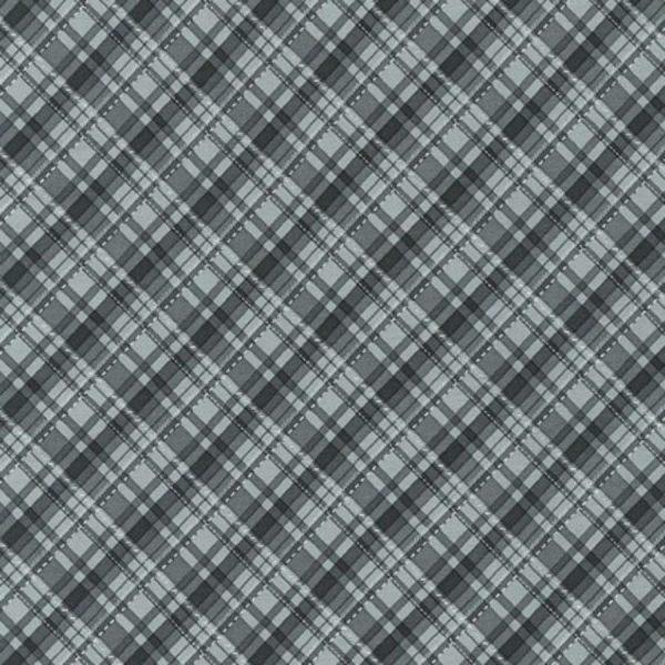 Tessuto in cotone americano - fantasia - natale - scozzese - grigio - Filomania