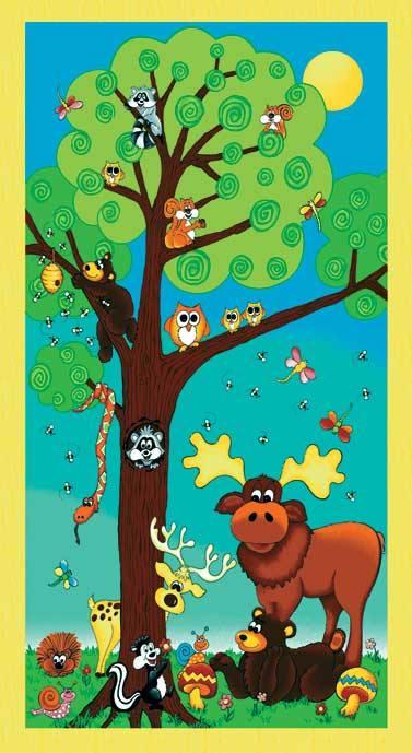 Tessuto in cotone americano - fantasia - pannello - animali - bosco - Filomania