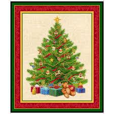 Tessuto in cotone americano - fantasia - pannello - natale - albero - Filomania