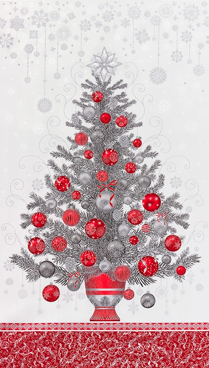 Tessuto in cotone americano - fantasia - pannello - natale - albero - grigio - Filomania