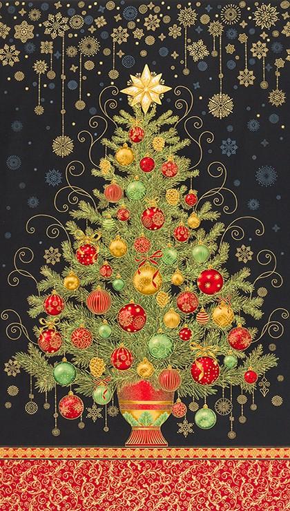 Tessuto in cotone americano - fantasia - pannello - natale - albero - nero - Filomania