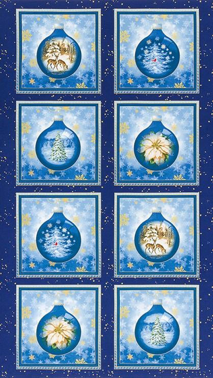 Tessuto in cotone americano - fantasia - pannello - natale - blu - Filomania