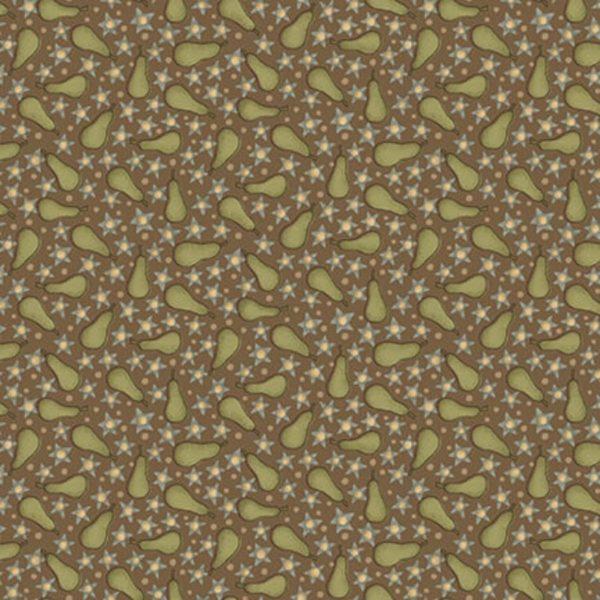 Tessuto in cotone americano - fantasia - pera - stella - marrone - Anni - Downs Filomania
