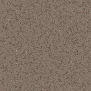 Tessuto in cotone americano - fantasia - ramo - fiorito - marrone - Anni - Downs - Filomania