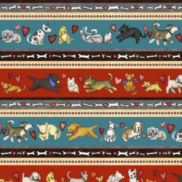 Tessuto in cotone americano - fantasia - riga - cane - cuori - Filomania
