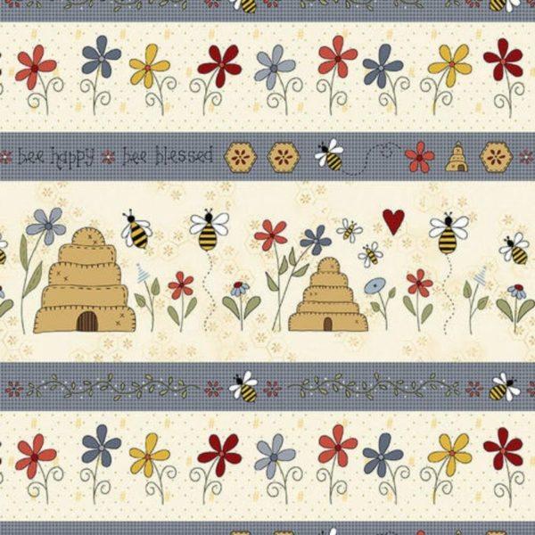 Tessuto in cotone americano - fantasia - riga - fiori - api - alveare - Filomania