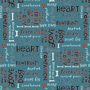 Tessuto in cotone americano - fantasia - scritta - cane - animali - love - blu - Filomania