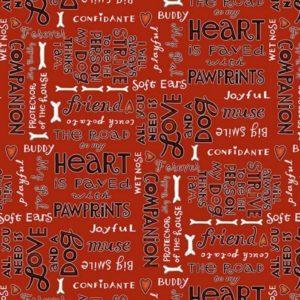 Tessuto in cotone americano - fantasia - scritta - cane - animali - love - rosso - Filomania
