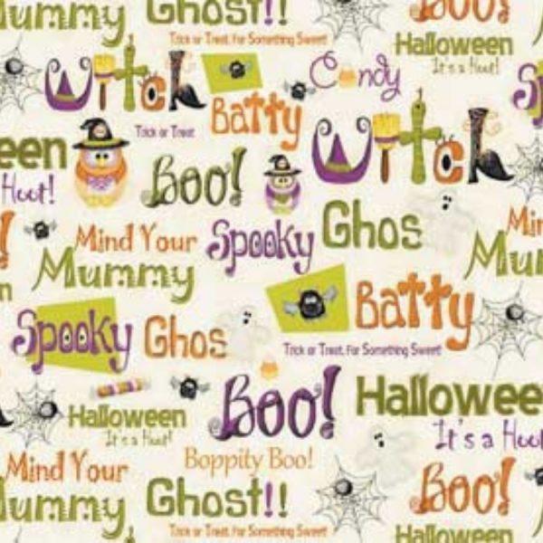 Tessuto in cotone americano - fantasia - scritte - halloween - Filomania